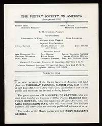 New York: Poetry Society of America, 1951. Softcover. Very Good. March, 1951 issue. Stapled wrappers...