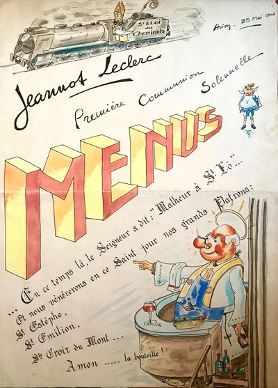 1947. Large French Menu dated May 25, 1947. 75 x 54 cm (108 cm. open) This menu was made for a First...