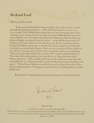 Oxford, MS: Square Books, 2006. First edition. Broadside. One of 300 copies. An excerpt from this no...
