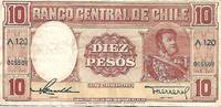 image of Chile 10 Pesos (1 Condor) 1958 Pick 120 FINE Circulated Condition