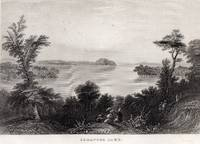 image of 1853 Steel Engraving of Saratoga Lake New York by William Bartlett