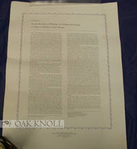 Mt. Vernon (NY): A. Colish Inc, 1980. broadside (18 x 24 in. / 46 x 61 cm.). Limited to 50 copies. A...