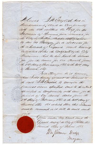[An early Alaska manuscript liquor...