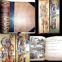 1870 THE NATURAL HISTORY OF MAN J.G. WOOD LEATHER 2 NATIVE AMERICAN INDIAN COLOR FORE EDGE PAINTINGS ILLUSTRATED