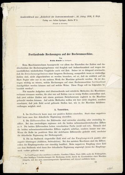 1936. Emde, Fritz (1873-1951). Fortlaufende Rechnungen auf der Rechenmaschine. Offprint from Zeitsch...