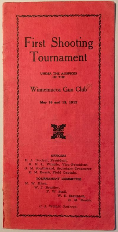 Winnemucca, NV: The club (printed at the Humboldt Star), 1912. First edition. Narrow 8vo. (3) pp. Pr...