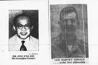 Two newspaper portraits: Dr. Ong Eng Die and Lee Harvey Oswald.