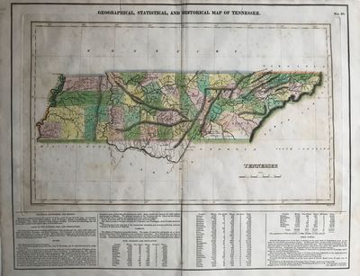 , 1822. Engraved map of Tennessee, 31 x 49 cm., on a 45 x 57 cm. on a double page sheet (short separ...