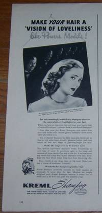 1947 MISS CAROLYN CROSS KREML SHAMPOO MAGAZINE ADVERTISMENT