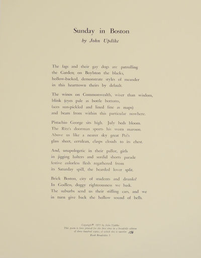 Derry, PA: The Rook Press, 1975. First edition. Broadside that measures 11