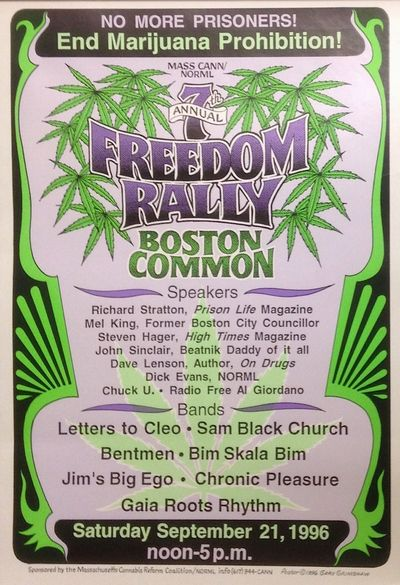 Boston: MASS CANN / NORML, 1996. 13x19 inch poster, green, purple and black design on white backgrou...