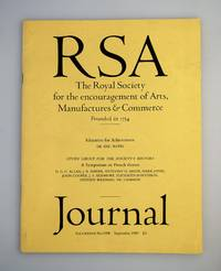 RSA: The Royal Society for the Encouragement of Arts, Manufacturers & Commerce [ Founded in 1754 ]: Journal - Vol.CXXXVII No. 5398 September 1989