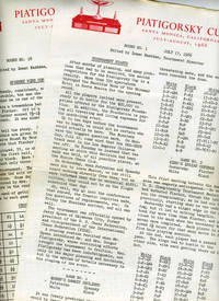 'Piatigorsky Cup, Santa Monica, California.  July - August 1966'.  Press releases for all 18 rounds of the final chess tournament in the series, in which Spassky wins the cup