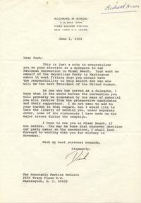 "TLS. 1pg. 7 ¼"" x 10"". June 1, 1968. New York, NY. A typed letter signed ""Dick"" to E. Perkin..."