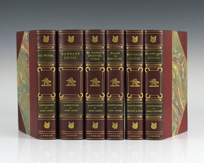 London: Bradbury Agnew & Company. Octavo, 6 volumes. Three quarters red leather over marbled boards,...