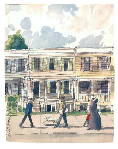West Cornwall, Connecticut, no date. Original artwork by American painter Robert Andrew Parker, depi...