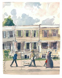 Original watercolor depicting Walt Whitman's Brooklyn home during the first printing of Leaves of Grass