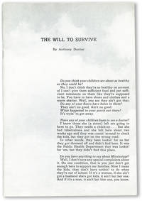 The Will to Survive: A Study of the Mississippi Plantation Community Based on the Words of Its Citizens