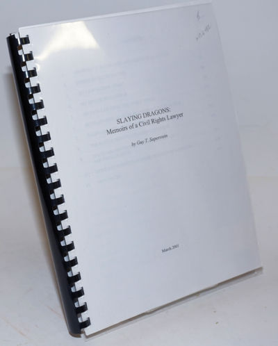N. pl: the author, 2001. i, 457p., 8.5x11 inches, spiral-bound wraps. Draft for the autobiography by...