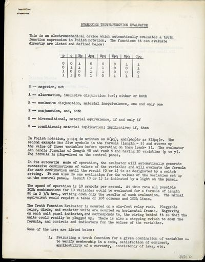 Paoli, PA: Burroughs, 1955. Miehle, William. Burroughs truth-function evaluator. Mimeographed typesc...