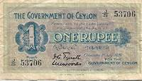 image of Ceylon 1 Rupee Banknote (1929) Pick # 38d - VERY GOOD CONDITION