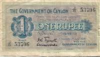 Ceylon 1 Rupee Banknote (1929) Pick # 38d - VERY GOOD CONDITION