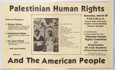 Detroit: Palestinian Human Rights Committee, . 14x8.5 inch flyer, vertical fold crease, otherwise ve...