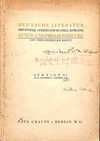 Auktion 91, 30.September - 1.Oktober 1929: Deutsche Literatur, Bibliothek  Ferdinand Russell-Koblenz, Luxus- Und Pressendrucke Aus Verschiedenem  Besitz.