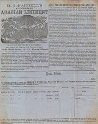Broadside Advertisement and Order Form for H. G. Farrell's Celebrated  Arabian Liniment