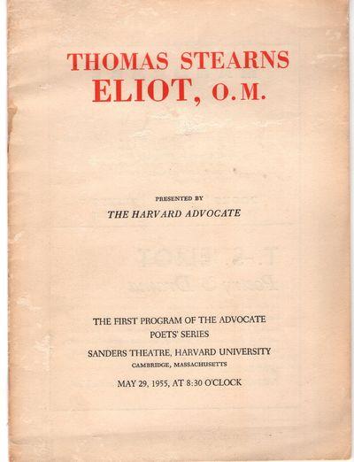 Cambridge: The Harvard Advocate , 1955. First Edition. Staplebound. Good. 10p., stapled, with essay ...