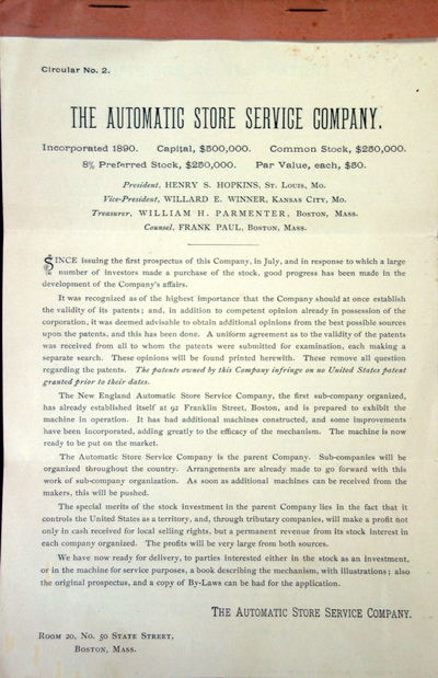 Boston, MA: The Automatic Store Service Company, 1890. 4 leaves, staple bound document with brown pa...
