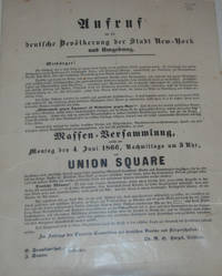 CALL TO GERMAN CITIZENS OF NEW YORK CITY; to protest in Union Square against blue laws