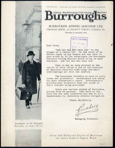 1929. Burroughs Adding Machine Ltd. Adding - bookkeeping - calculating machines. N.p., . Unbound bro...