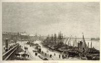'Rade de Bordeaux (Janvier 1868)'  Port of Bordeaux, with figures, horses and ships covered in snow.