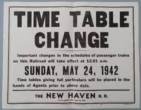 New Haven Railroad 1942 Broadside / Time Table Change