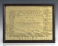 image of General John J. Pershing Signed United States Army Citation.