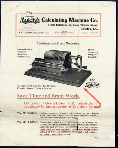 1914. Muldivo Calculating Machine Company. A masterpiece of French mechanism. N.p., n.d. . Unbound c...