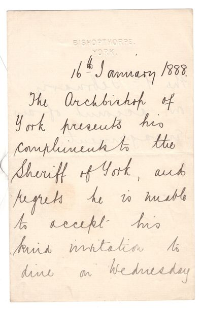 York, 1888. Letter. Very good. Single sheet folded, p., two written. Embossed Bishopthorpe, York sta...