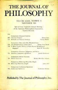 image of The Journal of Philosophy Volume LXXX, Number 11, November, 1983