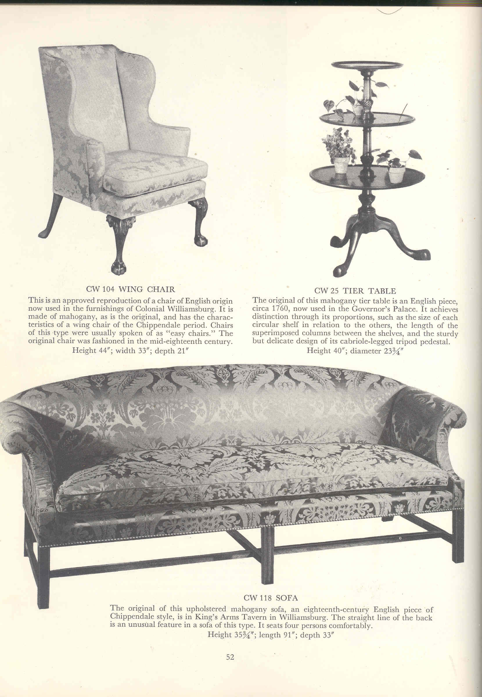 Williamsburg restoration reproductions a selection from for Williamsburg craft house catalog