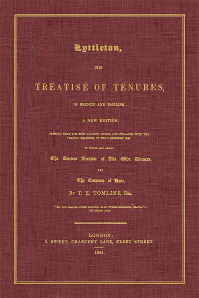 2014. ISBN-13: 9781616194253. ISBN-10: 1616194251. Littleton, Thomas, Sir. Tomlins, T E, Editor. Lyt...