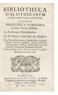 Bibliotheca Bibliothecarum Curis secundis auctior.  Accedit Bibliotheca Nummaria in duas Partes tributa.  I. De Antiquis Numismatibus.  II. De Monetis, Ponderibus & Mensuris.  Cum Mantissa Antiquarae Supellectilis ex Annulis, Sigillis, Gemmis, Lapidibus, Statuis, Obeliscis, Inscriptionibus, Ritibus, similibusque, Romanæ, præsertim Antiquitatis Monimentis collecta.  Editio III. auctior, & meliori ordine disposita.  Additus Joann. Seldeni Angli Liber de Nummis