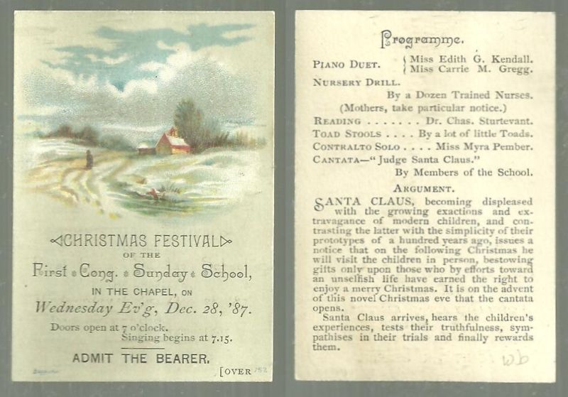 VICTORIAN TICKET FOR CHRISTMAS FESTIVAL OF THE FIRST CONG. SUNDAY SCHOOL, Christmas