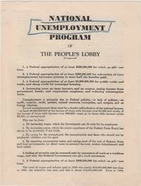 National Unemployment Program; of the People's Lobby