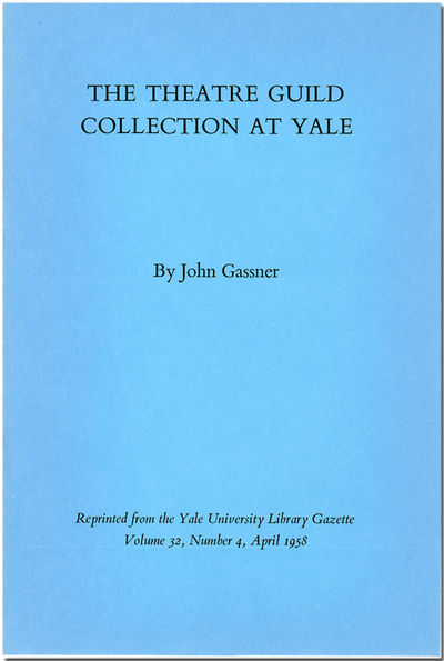 : Reprinted from the Yale University Library Gazette, Volume 32, Number 4, 1958. 8pp. Quarto. Staple...