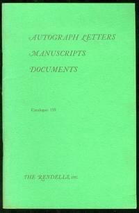 Autograph Letters, Manuscripts, Documents (Catalogue 159)