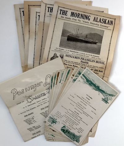 [At sea, 1934. Very good.. Five issues of The Morning Alaskan, each 4pp. Also, four leaves of manusc...