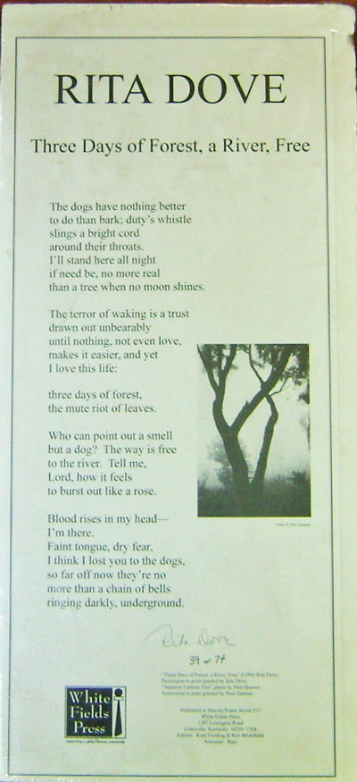 Louisville: White Fields Press, 1996. First edition. Loose Sheets. Very Good. Tall single sheet broa...