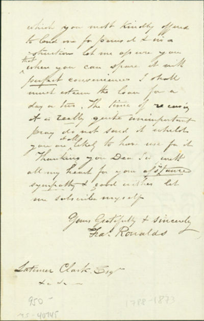 1870. Very Good. Ronalds, Francis (1788-1873). A.L.s. to Latimer Clark. Battle, April 11, 1870. 2pp....