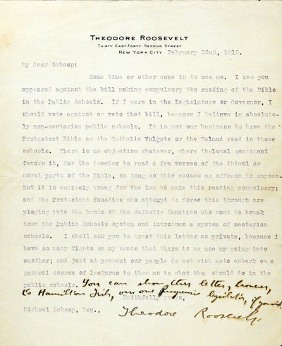 New York: np, 1915. First edition. nb. Very Good. IMPASSIONED LETTER BY ROOSEVELT STRONGLY SUPPORTIN...